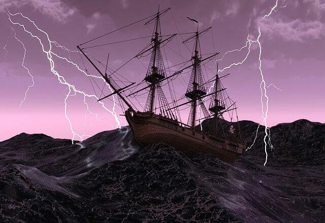 Kalózhajó tengeri viharban