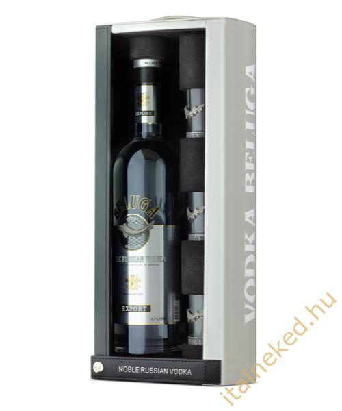 Beluga Noble Vodka (Bőr díszdoboz + 3 pohár) (40%) 0,7 l