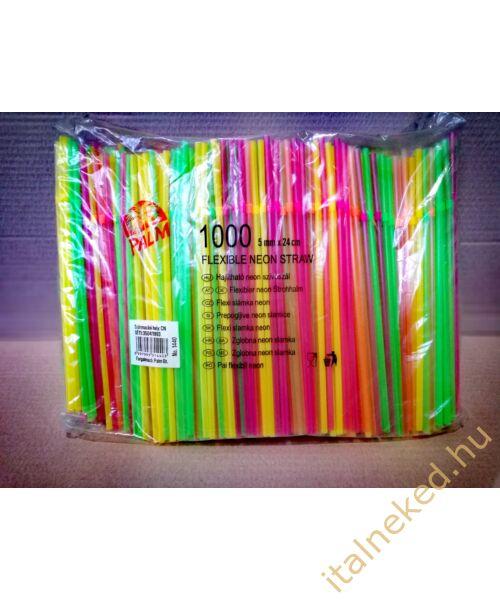 Szívószál Hajlítható neon (1000 szál)