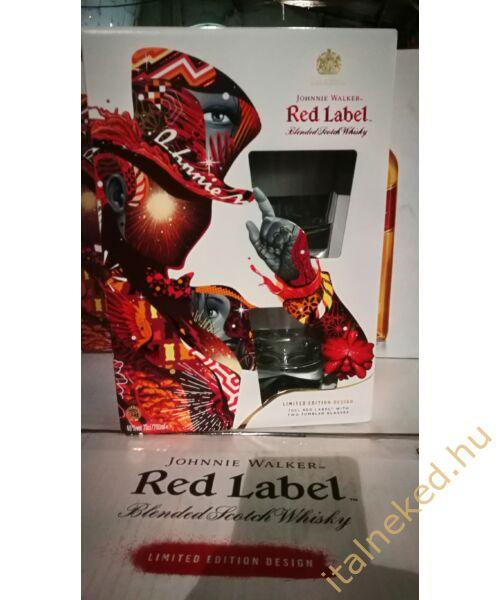 Johnnie Walker Red Label Whiskey (papír díszdobozban +2 pohár) (40%) 0,7 l
